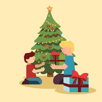 De familiescène van kerstmis met boom en verpakte giftdozen