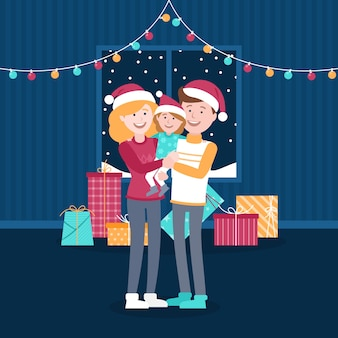 De familiescène van kerstmis met koord kleurrijke lichten