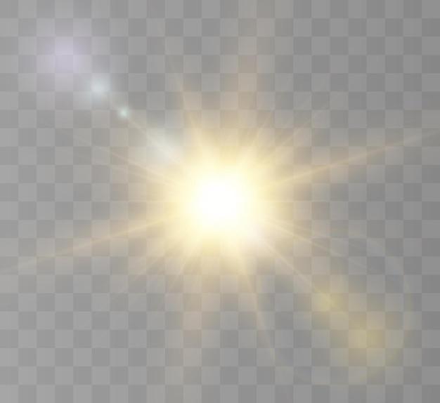 De felle zon schijnt met warme stralen vectorillustratie