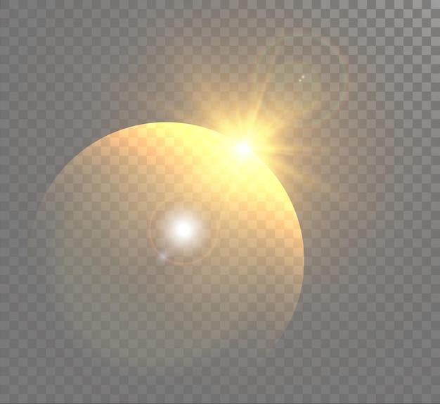De felle zon schijnt met warme stralenillustratie