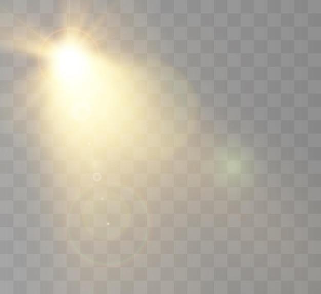 De felle zon schijnt met warme stralenillustratie Premium Vector