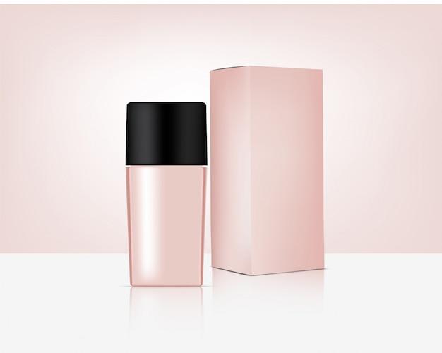 De fles bespot realistisch organisch rose gold cosmetic en doos voor van het achtergrond huidverzorgingproduct illustratie. gezondheidszorg en medisch conceptontwerp.