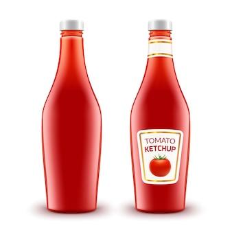 De fles van de tomatenketchup op wit.