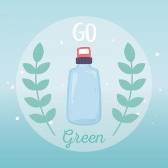 De fles van het water kringloop gaat groene milieuecologie