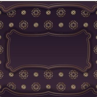 De folder is bordeauxrood met antieke gouden ornamenten en is klaar om gedrukt te worden.
