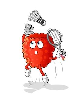 De framboos ineenstorting bij badmintonbeeldverhaal.