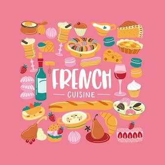De franse keuken. set van cliparts. traditionele franse keuken, gebak, wijn, brood. vector illustratie. maaltijden worden verzameld in de vorm van een vierkant.
