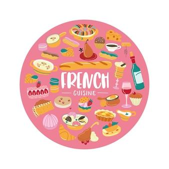 De franse keuken. set van cliparts. traditionele franse keuken, gebak, wijn, brood. vectorillustratie van een ronde vorm.