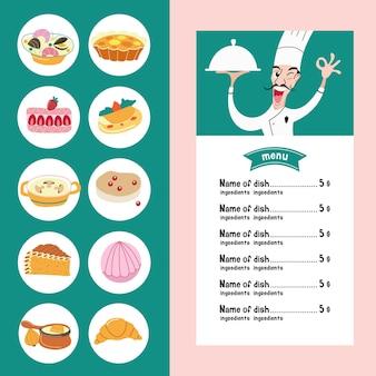 De franse keuken. set van vector iconen van de traditionele franse keuken. menusjabloon met een afbeelding van een chef-kok die een gerecht vasthoudt.