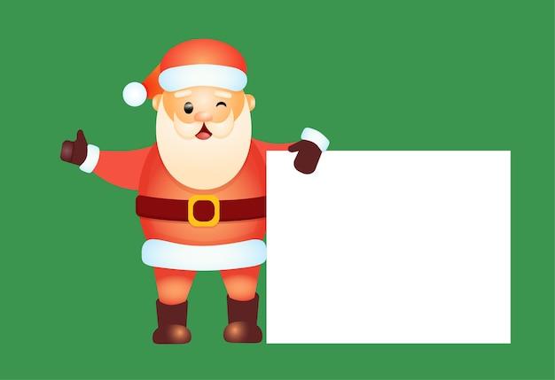 De gastvrije kerstman houdt een lege banner vast