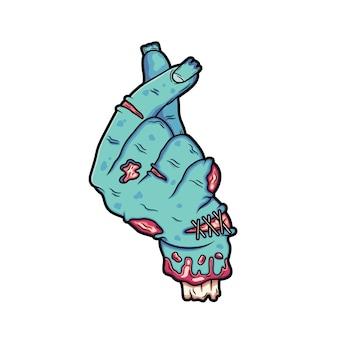 De gebroken zombiehand maakt de handtekening als deze.