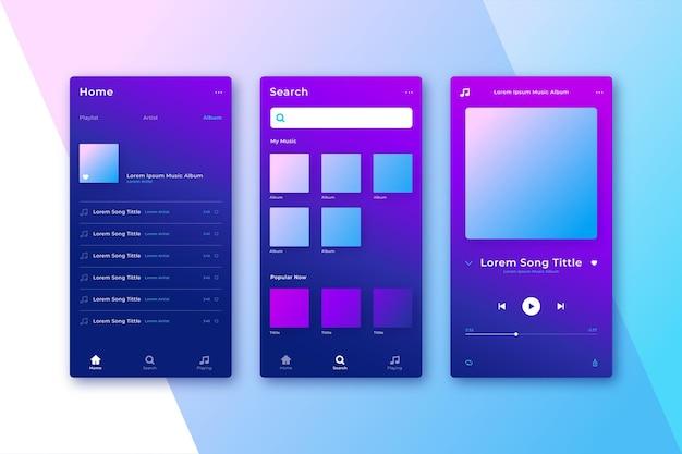 De gebruikersvriendelijke interface van de gradiëntmuziekspeler