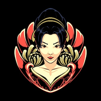 De geisha japans met draak