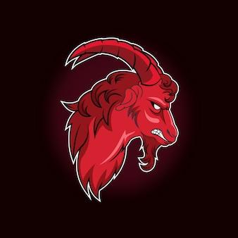 De geitmascotte voor sport en esports-logo geïsoleerd op een donkere achtergrond