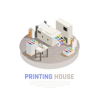 De gekleurde en geïsoleerde isometrische samenstelling van de drukhuispolygraphy met de zwart-wit vectorillustratie van de kleurendrukkamer