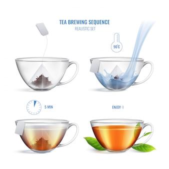 De gekleurde en realistische samenstelling van de thee brouwende reeks met vier stappen en instructies vectorillustratie