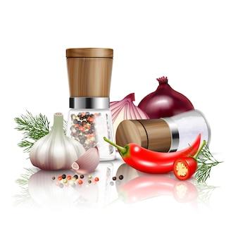 De gekleurde en realistische samenstelling van kruidengroenten met verse groenten en smaakstoffen aan schotels vectorillustratie