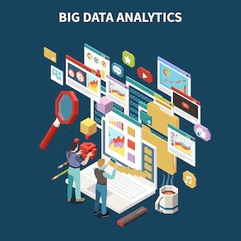 De gekleurde isometrische samenstelling van big data-analyse met abstracte 3d netwerkopslagvensters en apps in de luchtillustratie