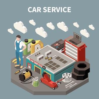 De gekleurde isometrische samenstelling van de autodienst met de arbeidersmens bij de het werk en materiaalhulpmiddelenillustratie