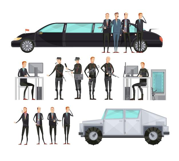 De gekleurde vlakke vlakke die samenstelling van het intelligentiebureau met werknemers wordt geplaatst die veiligheids vectorillustratie bieden