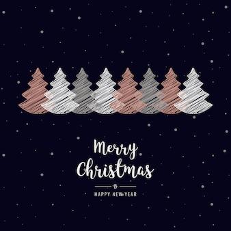 De gekrabbelgroet van kerstbomen nam gouden sneeuwachtergrond toe