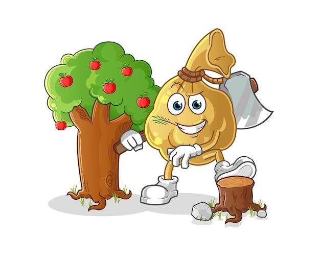 De geldzak carpenter karakter mascotte