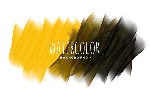 De gele en zwarte abstracte achtergrond van het waterverfmengsel
