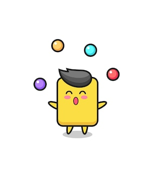 De gele kaart circus cartoon jongleren met een bal, schattig stijlontwerp voor t-shirt, sticker, logo-element
