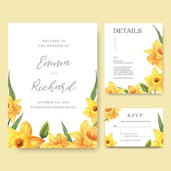 De gele narcis bloeit de kaart van de waterverfboekettenuitnodiging, sparen de datum, de kaarten van de huwelijksuitnodiging.