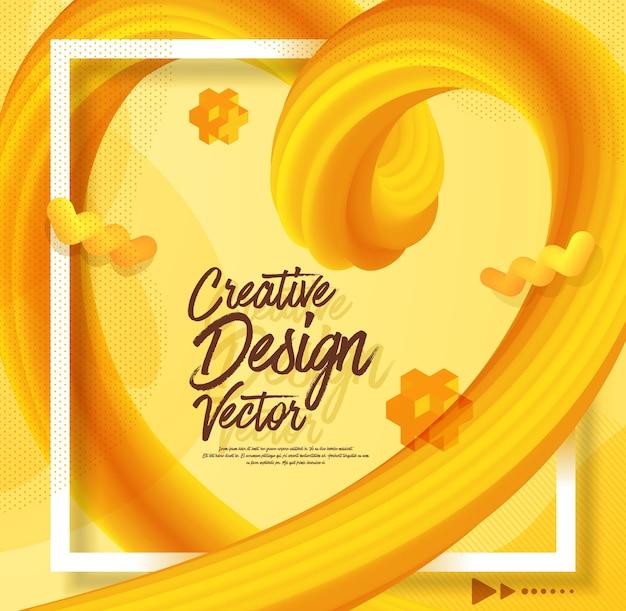 De gele vloeibare abstracte 3d stijl van het afficheontwerp