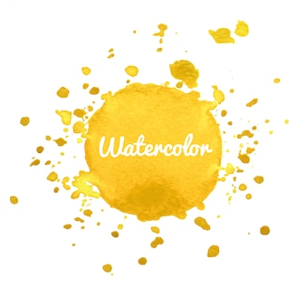 De gele waterverfhand trekt plonsachtergrond