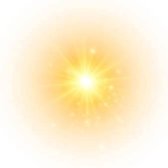 De gele zon een flits een zachte gloed zonder vertrekkende stralen ster flitste met glitters