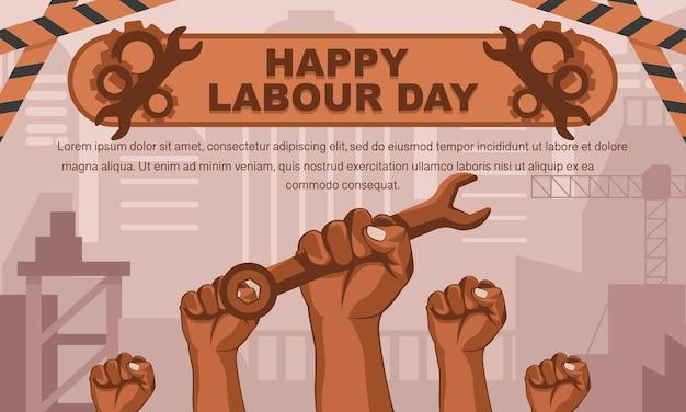 De gelukkige achtergrond van de arbeidsdag