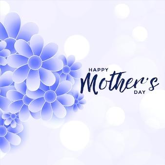 De gelukkige achtergrond van de de bloemdecoratie van de moedersdag blauwe