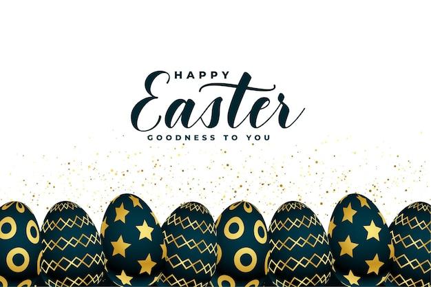 De gelukkige achtergrond van de de eierenviering van pasen gouden