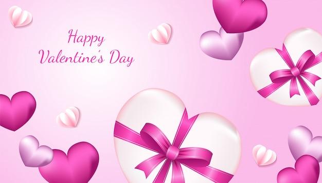 De gelukkige achtergrond van de valentijnskaartendag met 3d hartvorm