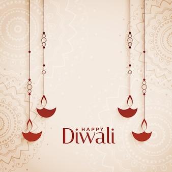 De gelukkige achtergrond van diwali elegante diya met tekstruimte