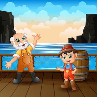 De gelukkige arbeider bemant in de houten havenillustratie