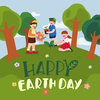 De gelukkige banner van de aardedag met smileyjongen en meisje die aan het planten van bos water geven