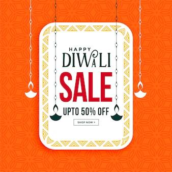 De gelukkige banner van de diwaliverkoop met het hangen van diya