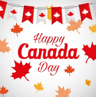 De gelukkige canada dag met esdoorn doorbladert decoratie