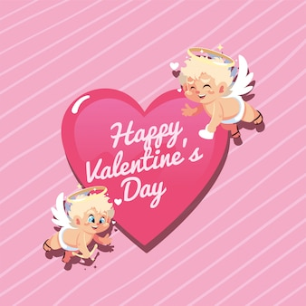 De gelukkige cartoons van valentijnskaarten blonde cupido's met hart