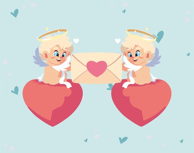 De gelukkige cartoons van valentijnskaarten blonde cupido's met kaart