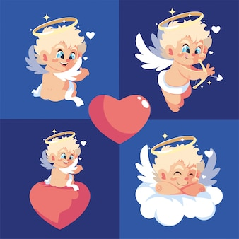 De gelukkige cartoons van valentijnskaarten blonde cupido's