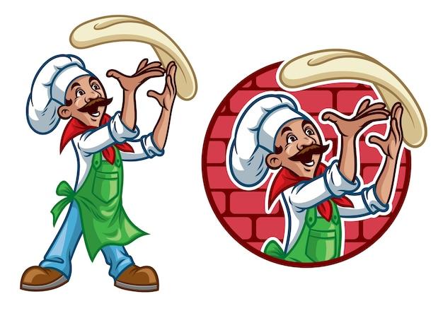 De gelukkige chef-kok gooit de pizza