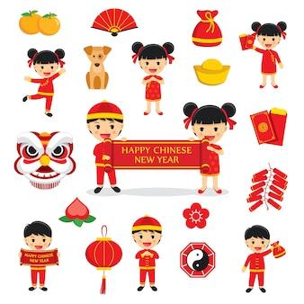 De gelukkige chinese traditionele symbolen van de nieuwjaardecoratie die met karakters en pictogrammenelementen worden geplaatst die op witte achtergrond worden geïsoleerd