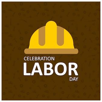 De gelukkige dag van de arbeid creative typografie en arbeiders helm op een bruine achtergrond