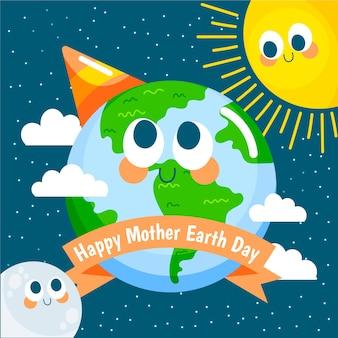 De gelukkige dag van de moederaarde met de zon en de maan