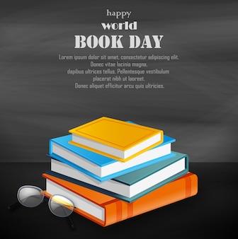 De gelukkige dag van het wereldboek met stapel boeken op zwarte achtergrond
