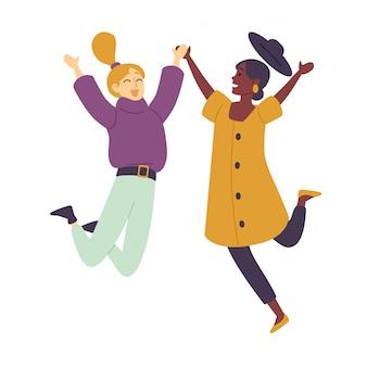 De gelukkige dansende jonge vrouwen die van mensen vrouwelijke dansers van danspartij genieten.